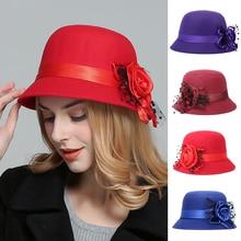 Fashion Ladies Women Vintage Imitation Wool Rose Flower Felt Hat Fall Winter Cloche Bucket Floral Cap Dome 9 Colors