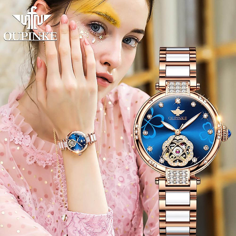 OUPINKE Luxury Brand Automatic Women Watches Ceramic Mechanical Wrist Watch Ladies Dress Fashion Bracelet Gift Set montre femme