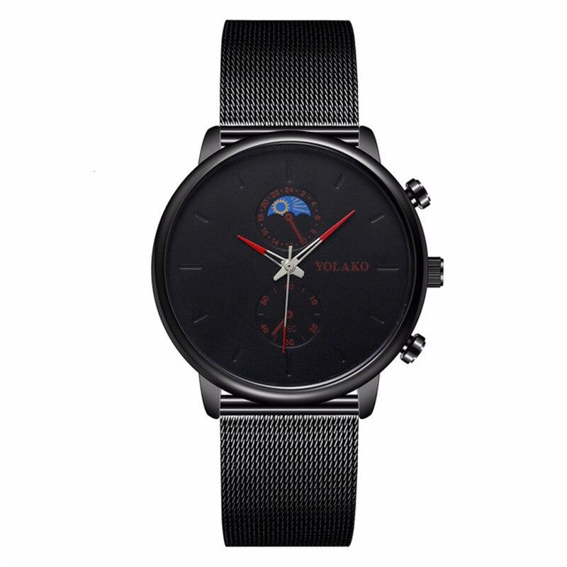Marca YOLAKO, reloj ultrafino para hombre, reloj de pulsera de malla de acero, reloj deportivo para hombre, relojes de regalo, reloj masculino para hombre