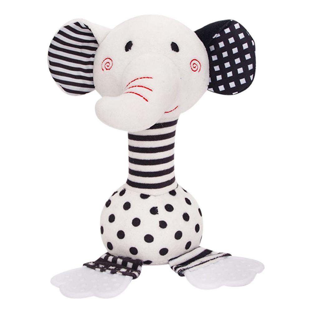 Детские черно-белые погремушки, игрушки-грызунки со слоном, удобные игрушки, черно-белые милые животные, детская кроватка, подвесные игрушк...