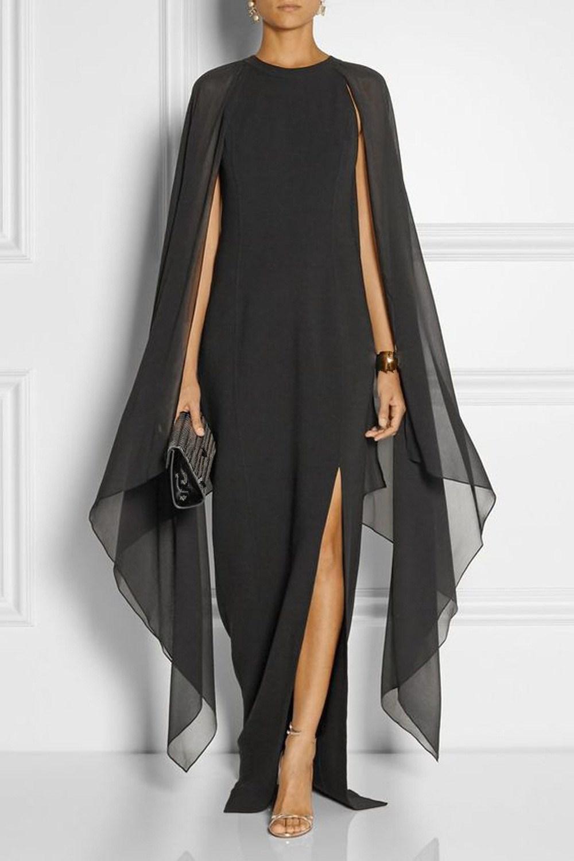 Mode 2019 Frauen Batwing Sleeve Split Chiffon Kleid Sexy Schwarz Rot Blau Lila Runway Cape Maxi Kleid Boho Lange Robe