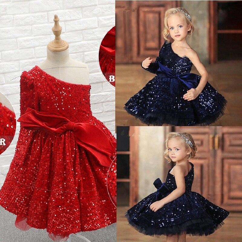 فساتين حفلات للأطفال لامعة منتفخة باللون الأزرق الملكي فساتين الأميرة بكتف واحد للفتيات الصغيرات ملابس لحفلات الرقص