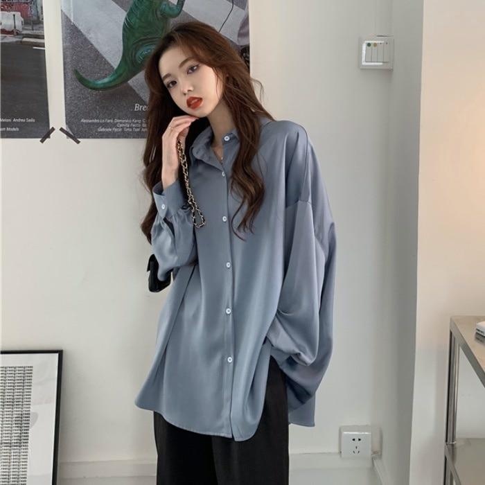 Spring and Autumn Korean Style 2021 New Loose Mid-Length Haze Blue Idle Style Casual Salt Series Lon