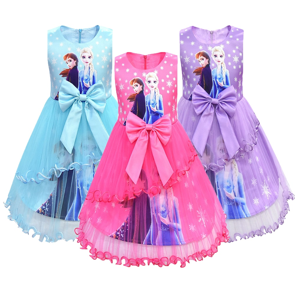 Neve gelo rainha 2 elsa anna vestidos para meninas presente de aniversário traje festa princesa tutu rendas meninas vestido crianças roupas