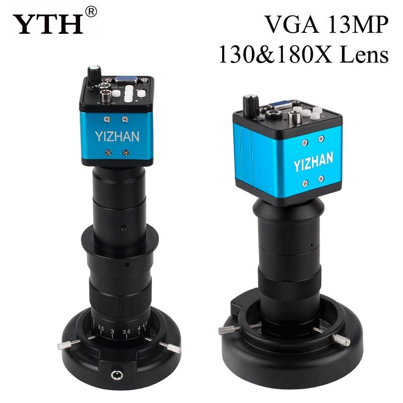 مجهر أحادي مع كاميرا رقمية VGA 13 ميجابكسل ، عدسة قابلة للتعديل 130 × أو 180 × ، مصباح LED ، إصلاح Pcb ، لحام الهاتف