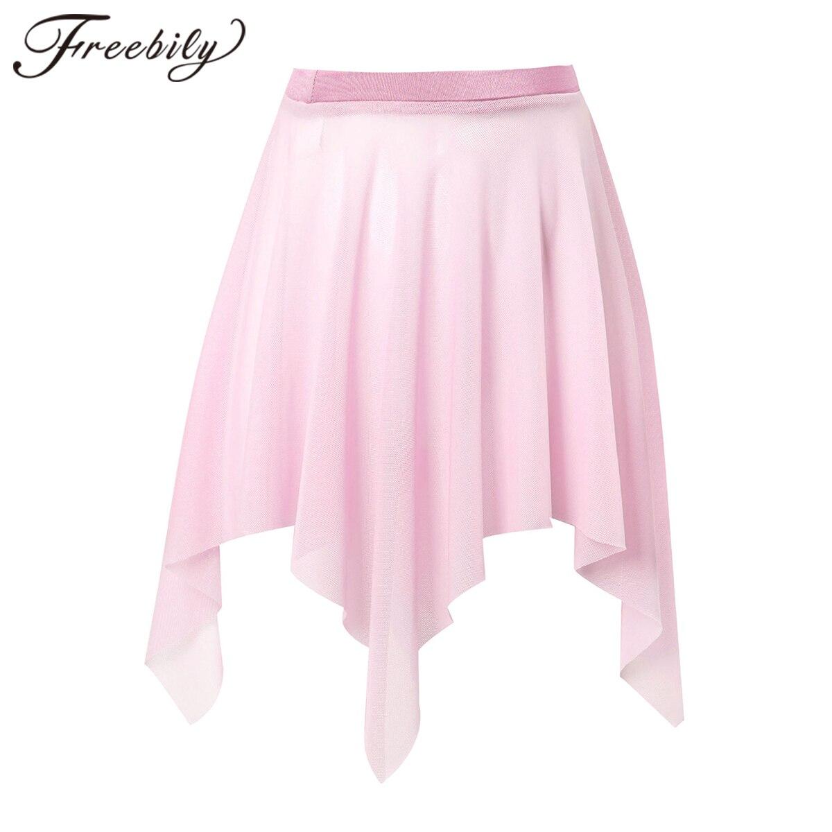 Girls Ballet Skirt Irregular Cut Modern Lyrical Dance Tulle Skirt Kids Gymnastics Leotard Skirt Stag