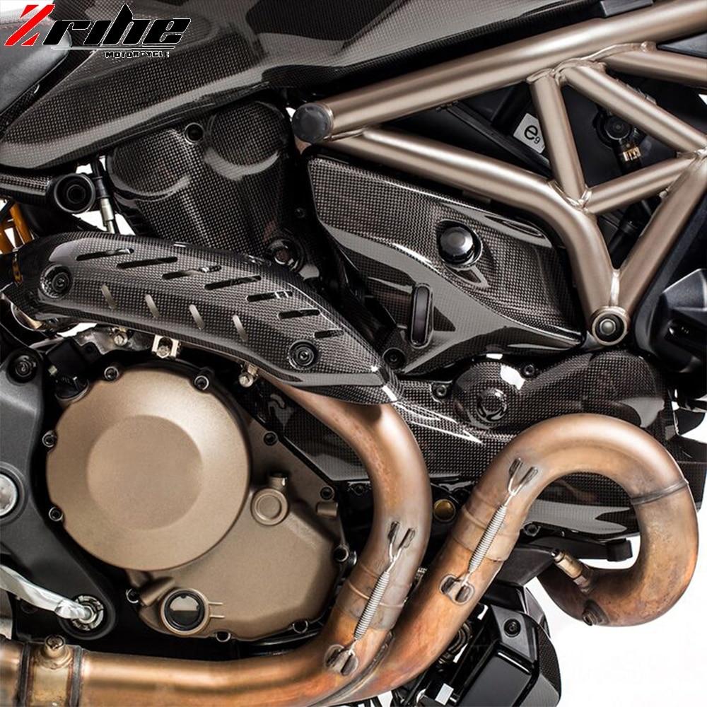 For Ducati Monster 821 1200 2014-2017 Carbon Fiber Muffler Pipe Exhaust Heat Shield Cover Guard Muffler Covers Protector Motor