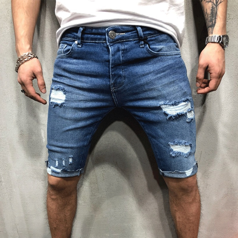 Рваные короткие мужские джинсовые шорты, хлопковые дышащие синие джинсовые шорты, мужские рваные зауженные короткие джинсы с дырками для м...