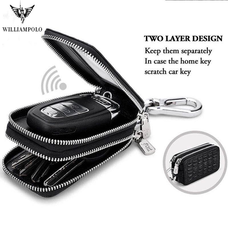 Car Key Holder Key Case Genuine Leather  Crocodile Pattern Design Fashion Unisex Double Zipper Keys Bag With Rings Pl281
