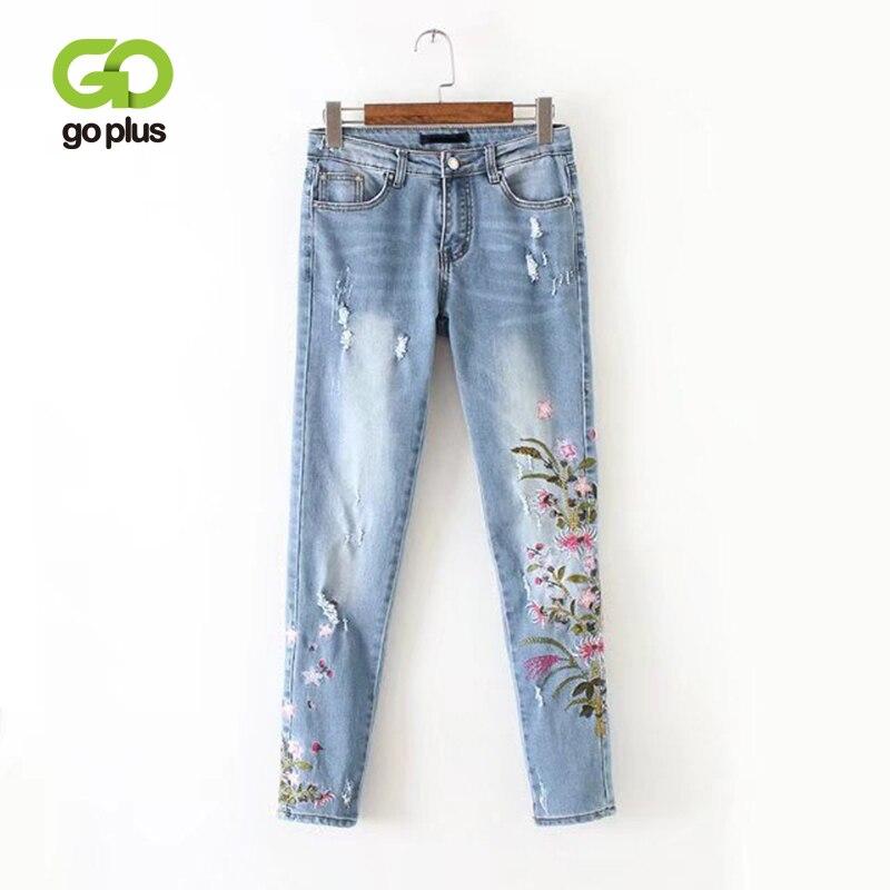 Goplus 2020 novo namorado jeans rasgado cintura alta densa denim floral bordado calças de brim para mulher plus size lápis c6925