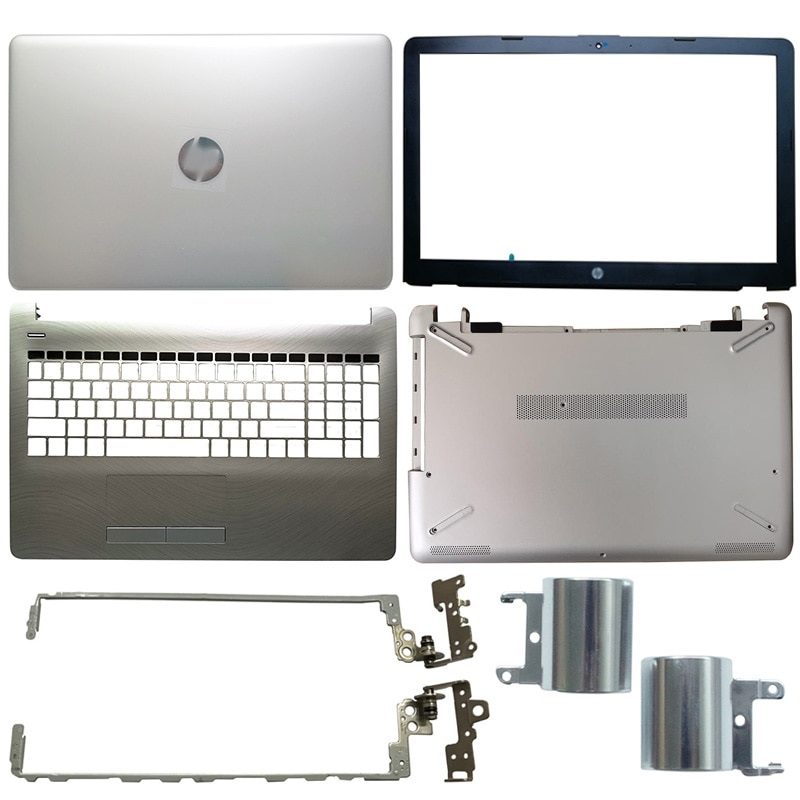 Silver Laptop LCD Back Cover/LCD front bezel/Hinges cover/Palmrst/Bottom Case For HP 15-BS 15-BW 15-BS070WM 15Q-BU 924892-001 new for hp 15 bs 15 br 15 bw 15t br 15 bs 15z bw laptop lcd back cover front bezel hinges palmrest bottom case 924899 001