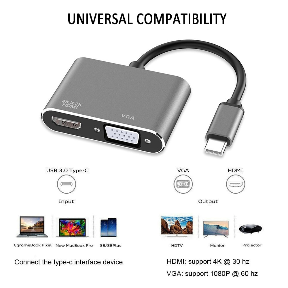 1080P HD USB C VGA линия Аудио ТВ адаптер Тип C к HDMI 4K Thunderbolt 3 для Samsung ForGalaxy S10/S9 для Huawei Mate 20/P30 Pro