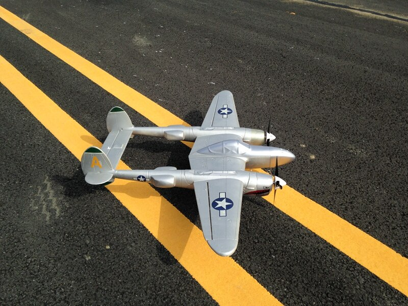 RC hélice avión 1,2 m wingspan P38 P-38 EPO doble motor plata