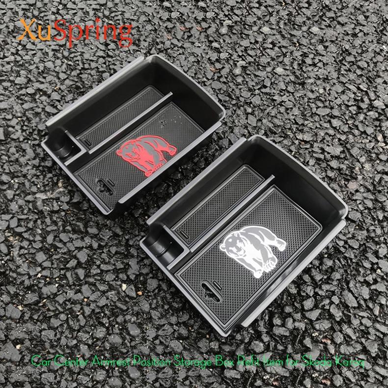 Para skoda karoq 2017-2020 centro de apoio de braço do carro caixa de armazenamento recipiente luva organizador caso fechadura da porta capa