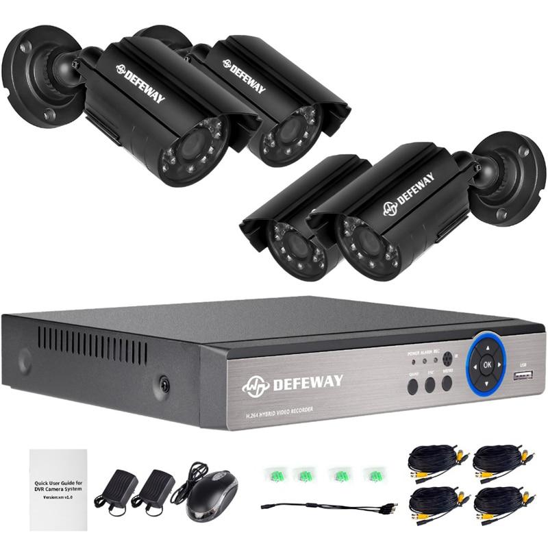 DEFEWAY 1080N DVR 1200TVL 720P HD Outdoor Home Security Kamera System 4CH CCTV Video Überwachung DVR Kit 4Pcs AHD Kamera Set