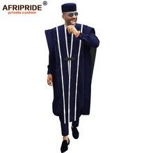 Africain hommes vêtements Agbada Robe Dashiki chemises Ankara pantalon Tribal chapeau mariage soirée tenues 4 pièces AFRIPRIDE A1816011
