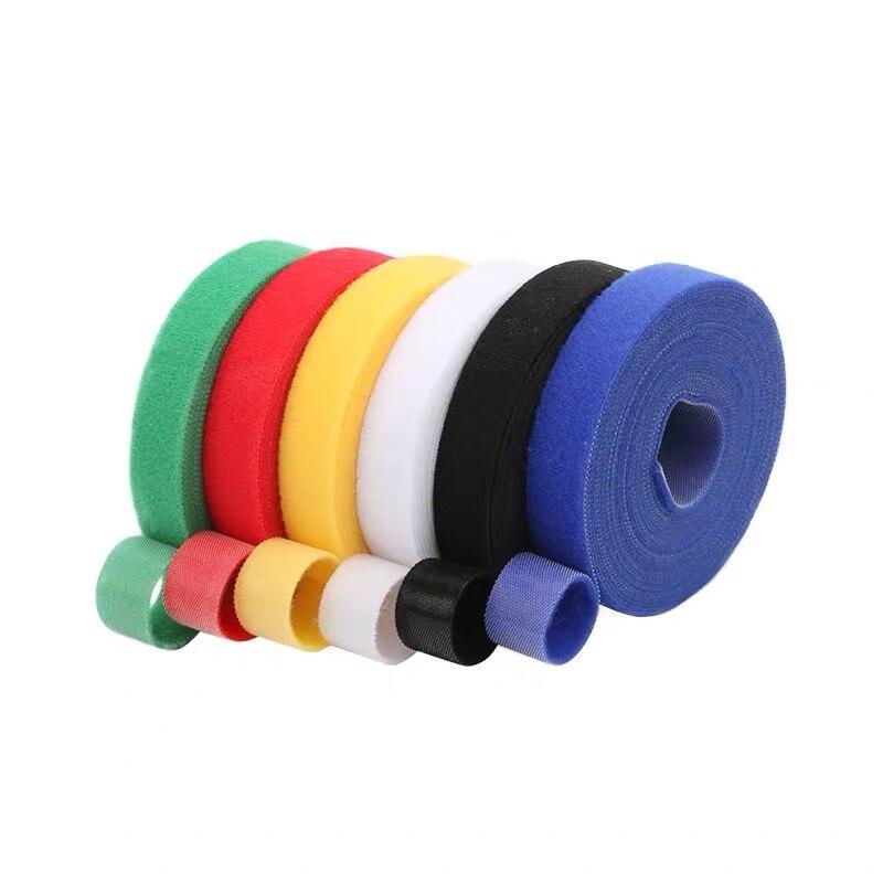Bridas de plástico de nailon de 1cm * 5M, sujetadores de Clip para cables, cinta de Velcro, sellos para correas de cables, gestión de escritorio de oficina