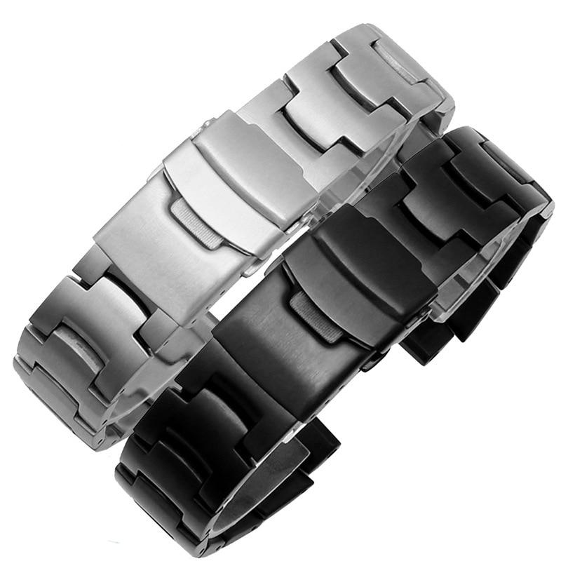 الفضة والأسود المعادن استبدال معصمه ل كاسيو PRG-260 PRG550 PRW-3500 PRW2500 PRW5100 SmartWatch الفولاذ المقاوم للصدأ حزام