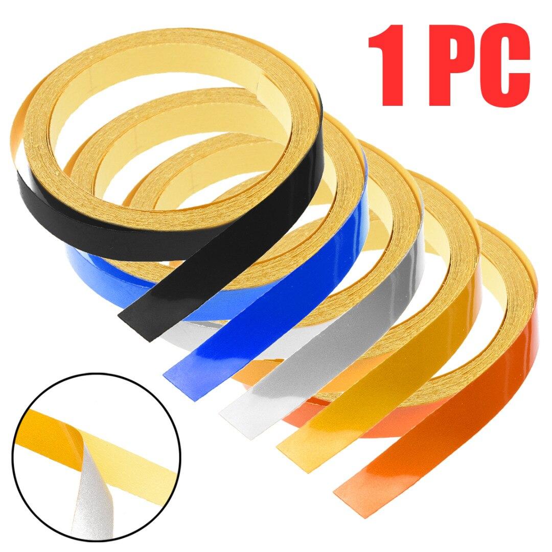 1 шт. Автомобильная самоклеящаяся лента для самостоятельной сборки отражающего обода в полоску, декоративная лента для автомобильного мотоцикла, 6 цветов, 5 м * 1 см