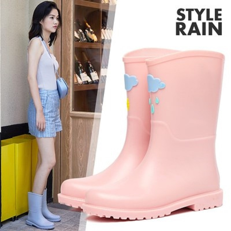 ¡Novedad! Botas de lluvia bonitas de dibujos animados con película de gelatina, zapatos de exterior antideslizantes, Botas de lluvia impermeables para adultos, botas para mujer