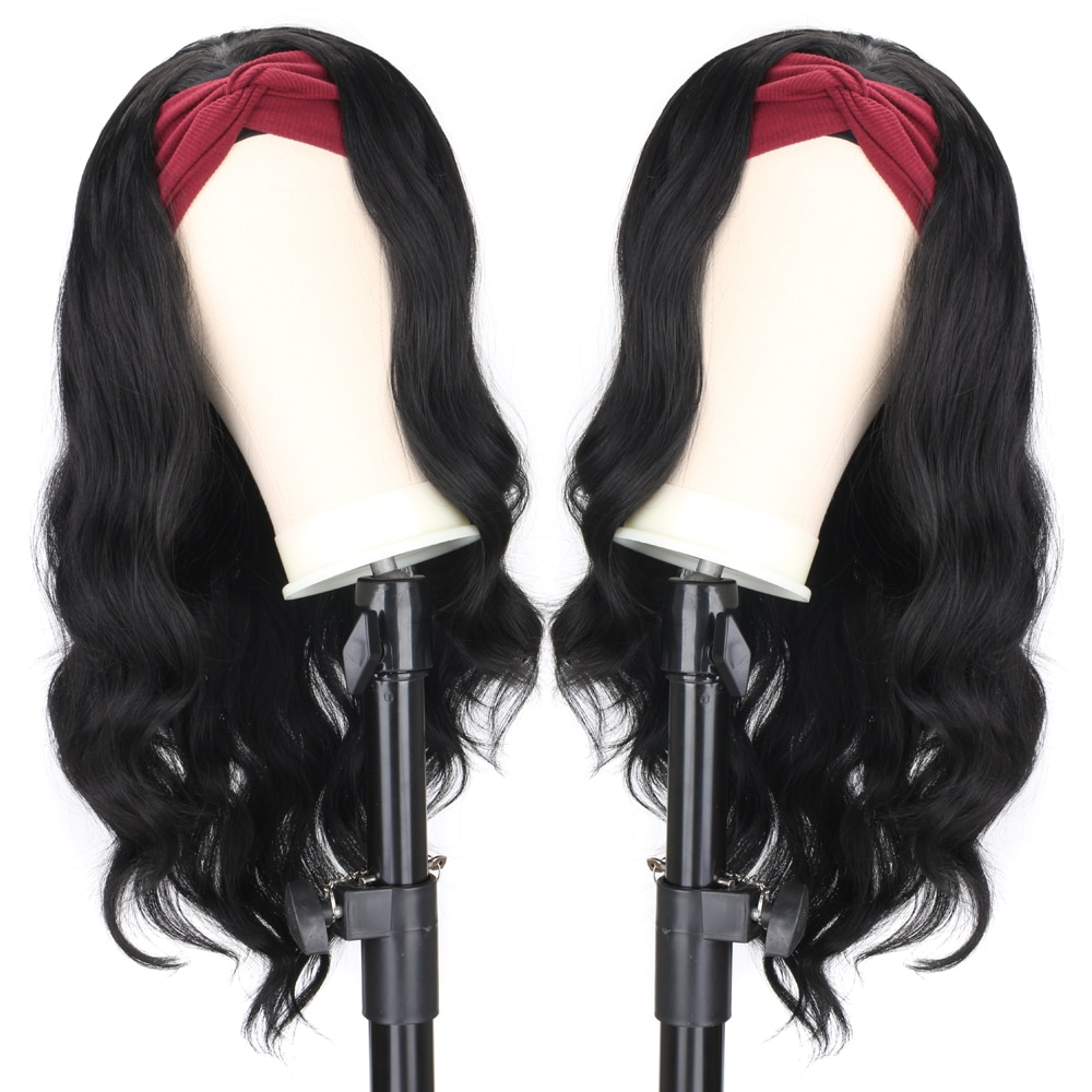 Women's Headband Wig Body Wave Natural Black Wigs with Headband Fake Hair Synthetic Wigs for Black Women