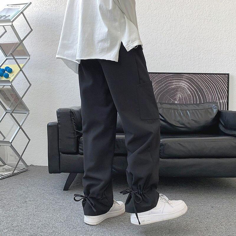 Черные Костюмные брюки мужские корейские деловые мужские костюмные брюки Модные свободные повседневные брюки мужские брюки на завязках му...