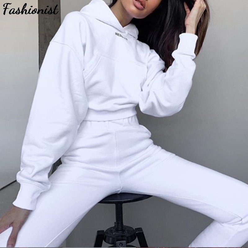 2021 Autumn Winter Women Joggers Thick Fleece 2 Pieces Sets Hoodies Sweatshirt And Pants Suits Solid Casual Tracksuit