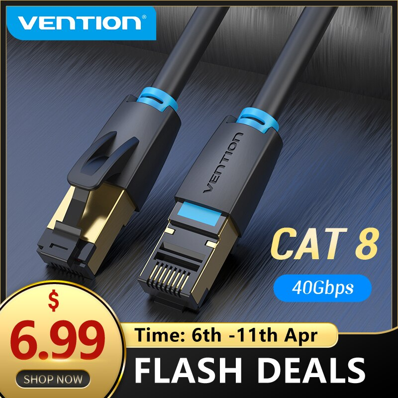 aliexpress - Vention Cat8 Ethernet Cable SSTP 40Gbps 2000MHz Cat 8 RJ45 Network Lan Patch Cord for Router Modem Internet RJ 45 Ethernet Cable