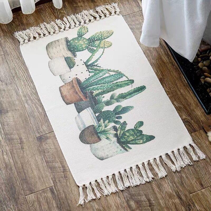 اليابانية الحمام السجاد Ins طويل البساط نبات الصبار مدخل ممسحة شرابة ديكور القطن و أريكة من الكتان غرفة نوم المطبخ منطقة البساط