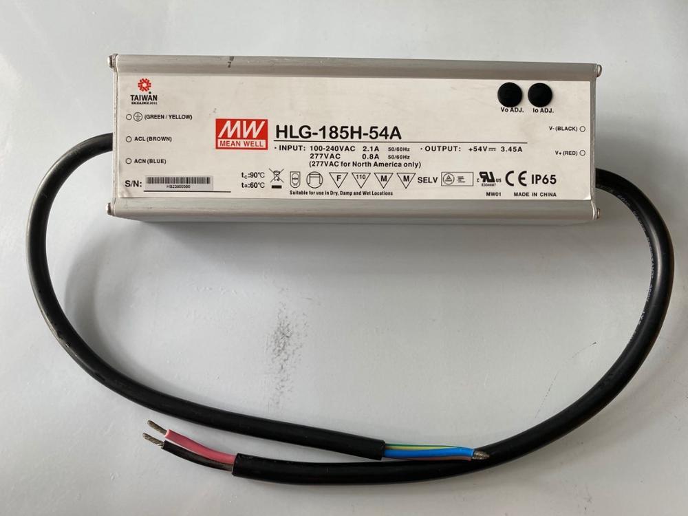 Fuente de alimentación ajustable meanwell Original meanwell HLG-185H-54A 185W 3.45A 54V IP65 Controlador led impermeable 54V con PFC