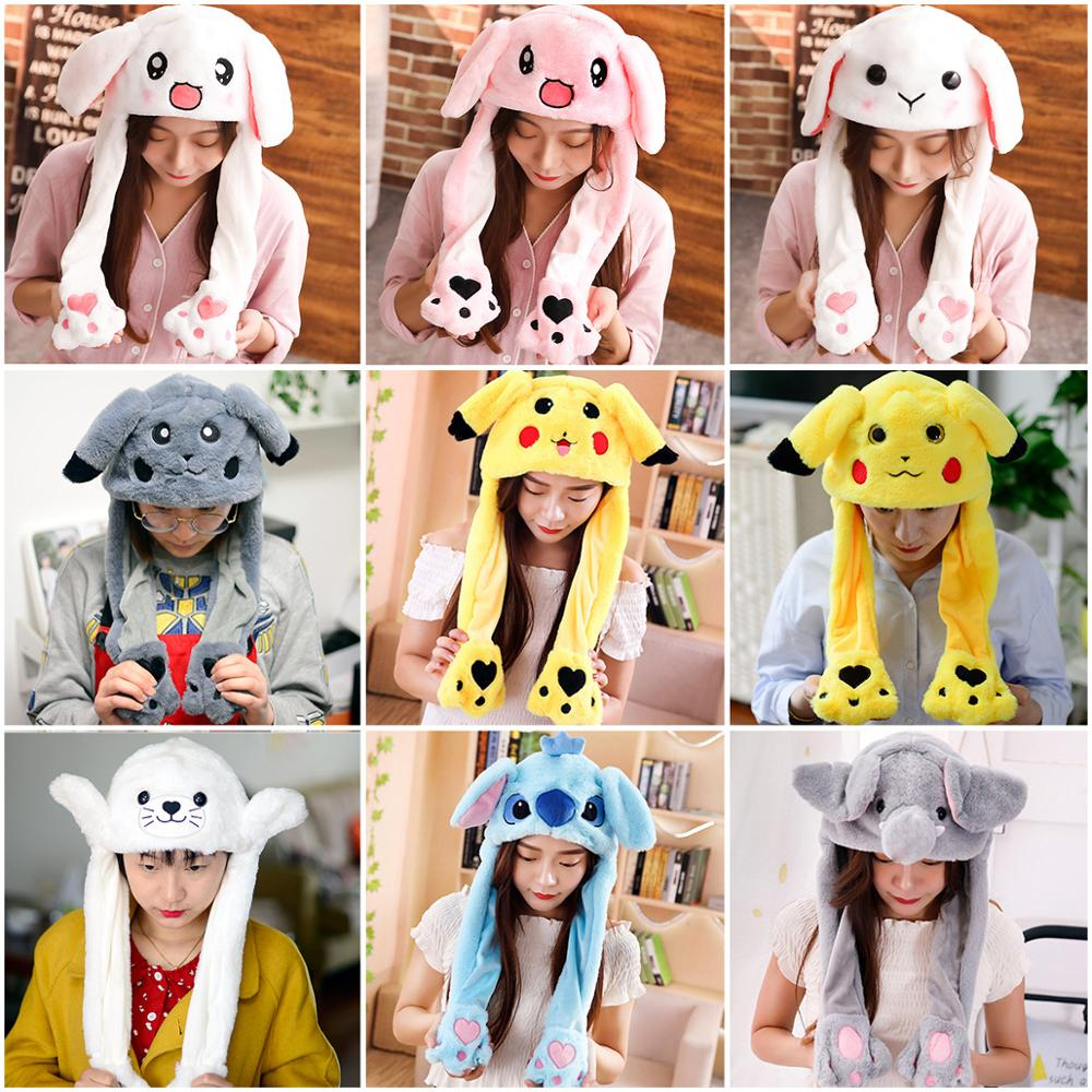 Cute Rabbit Moving Ears Airbag Hat Soft jumping Up cap Funny Toy Girls Plush Bunny Cap Kids Birthday Christmas Gift for