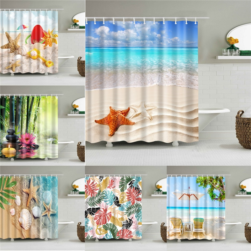 Flowers Printed Fabric Shower Curtains Sea Scenery Bath Screen Waterproof Products Bathroom Curtains Decor with 12 Hooks