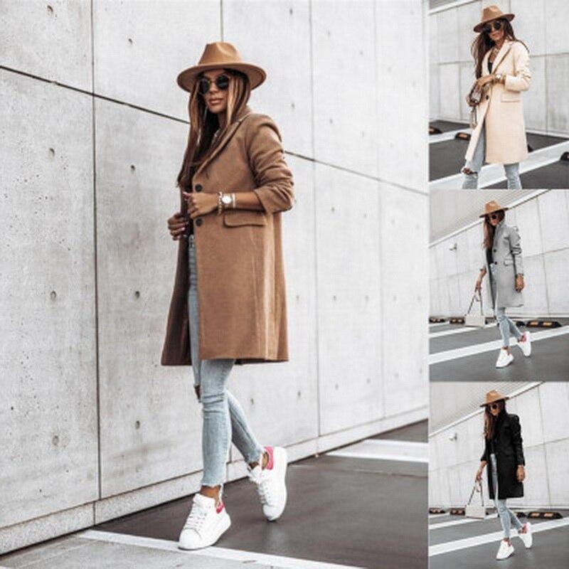 Fall/Winter 2021 Simple Long Sleeve Button Nizi Coat Coat Women's Wear пальто женское куртка женская весна traf