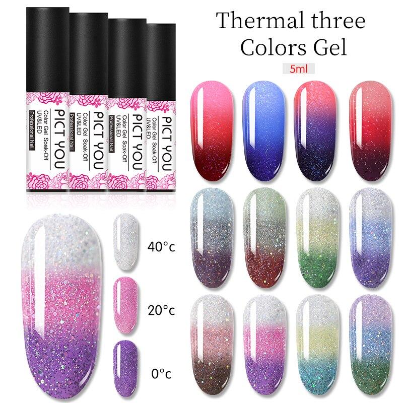 1 botella de Gel térmico para uñas de PICT YOU, tres colores, esmalte de Gel en remojo, cambio de Color, cambio de temperatura, Gel para uñas, 22 colores