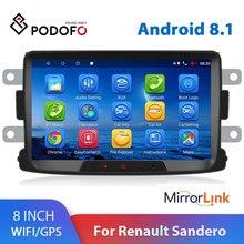 Podofo-lecteur multimédia de autoradio   Android 8.1 2 Din, GPS 2din, 8 pouces, pour Renault Sandero LOGAN II Duster Dacia DOKKER