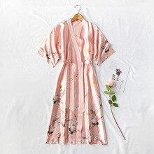 Print Satin Women Kimono Robe Gown Wedding Robe Pink Home Clothing Elegant Sleepwear Casual Silky Bath Gown Lingerie Nightwear