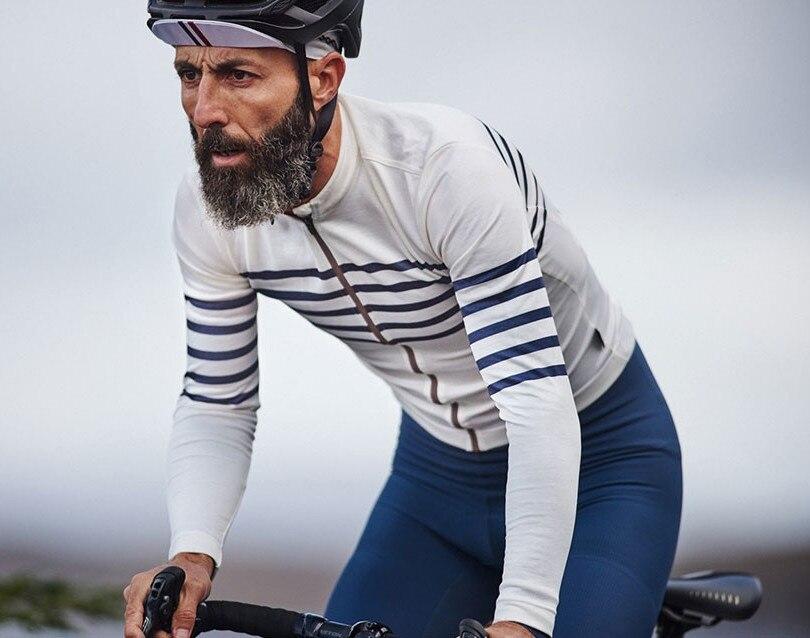 Jersey térmico de manga larga para Ciclismo para hombre, chaqueta a rayas...