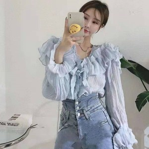 Spring Summer Woman V-neck Chiffon Ruffled Shirts Fairy Sweet Flowers Pleated Blouses Long Trumpet Sleeve Crop Tops Blusas 2021