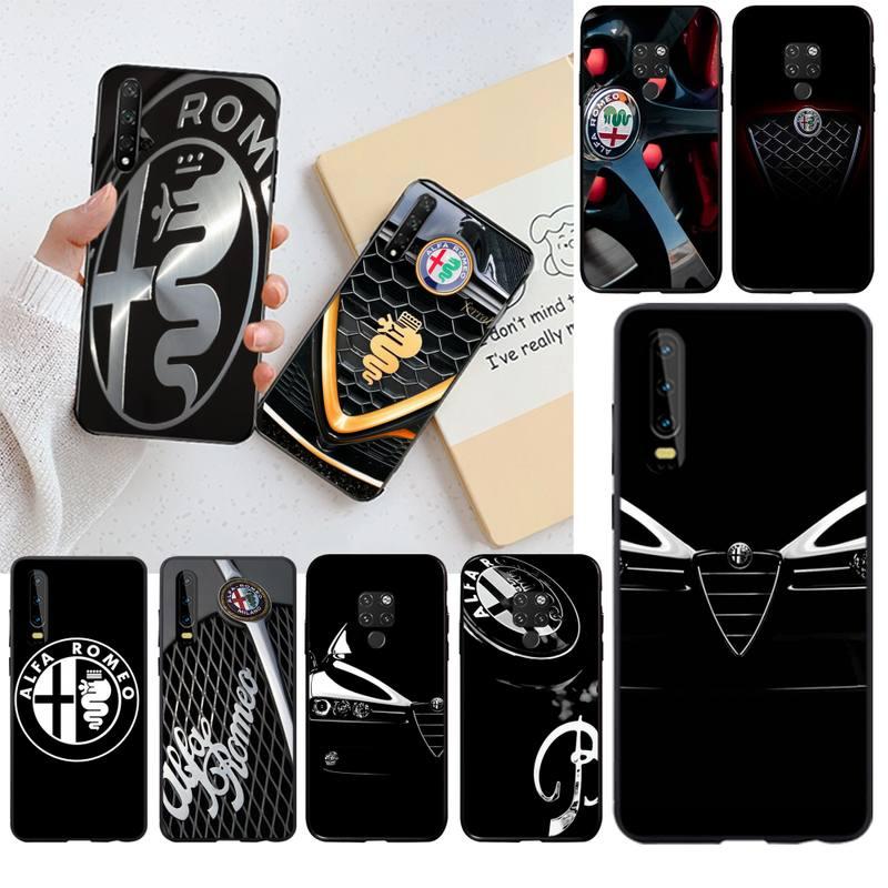 Carro quente alfa romeo logotipo macio silicone preto caso de telefone para huawei p40 p30 p20 lite pro companheiro 30 20 p inteligente 2019 prime