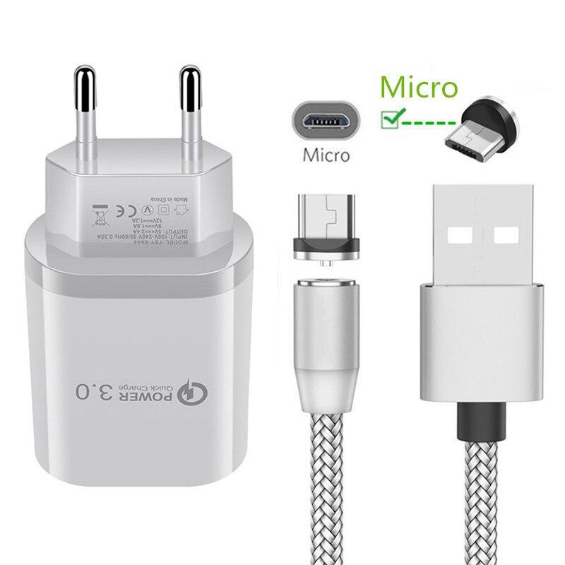Магнитный всасывающий микро-usb кабель QC 3,0 быстрое зарядное устройство для Samsung A6 A7 ZTE Blade V7 V9 alcatel для Huawei Y7 Honor 8A