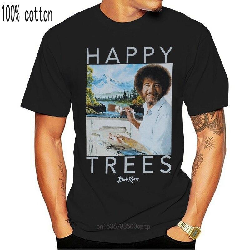 Bob Ross Herren T-Shirt-Glückliche Bäume Lächelndes Bob Mit Kunst Cartoon t hemd männer Unisex Neue Mode t-shirt lustig
