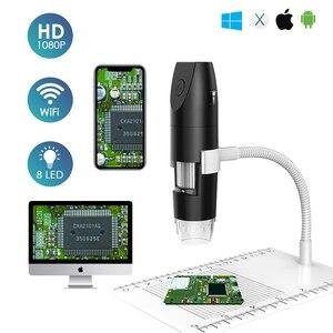 50X-1000X 2MP 8 светодиодный Цифровые микроскопы USB HD 1080P Портативный Беспроводной Wi-Fi Цифровые микроскопы электронный эндоскоп для телефона из поликарбоната
