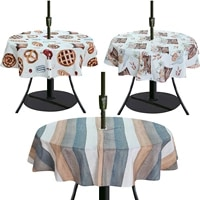 waterproof tablecloth with zipper umbrella hole 100 high quality polyester for outdoor backyard party bbqs table cloth round