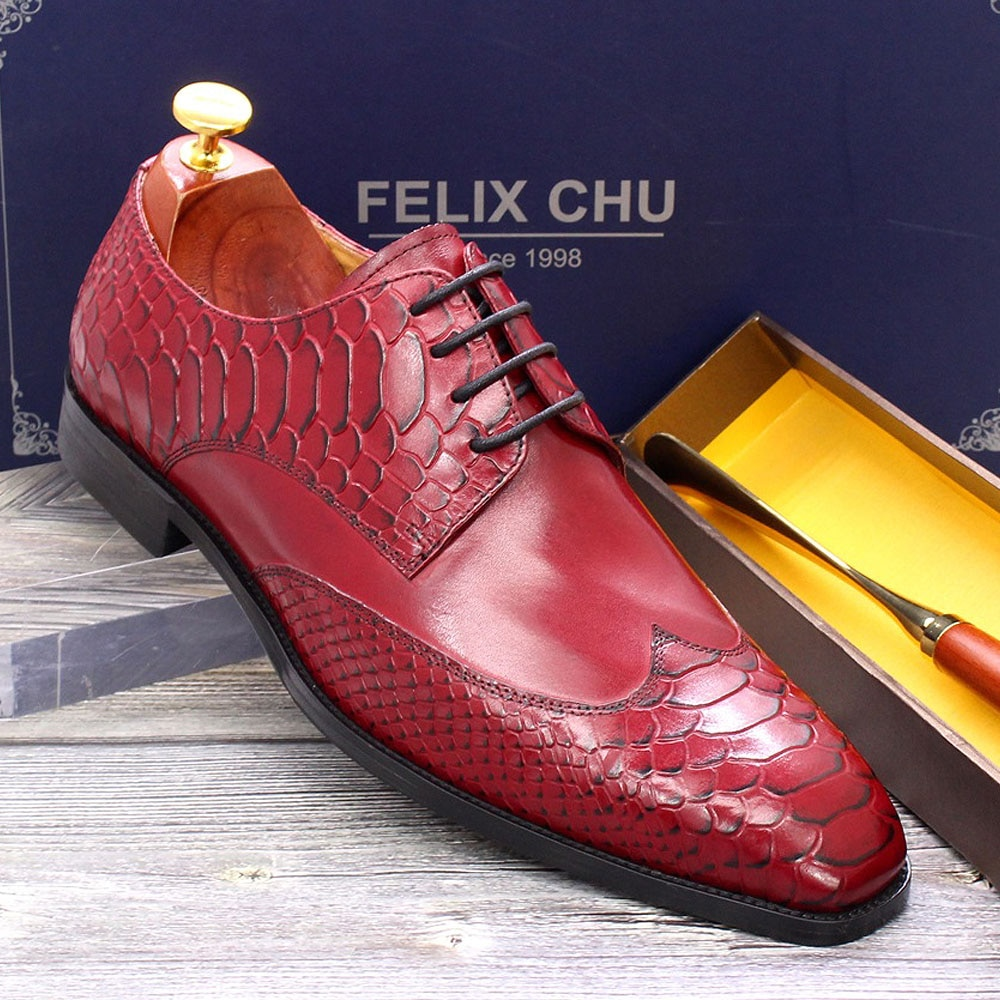 2021 New Style Men's Dress Shoes Genuine Leather Wingtip Oxford Derby Snake Print Pointed Toe Party Wedding Formal Shoes for Men