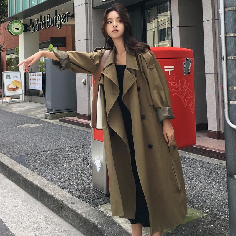 2021 Spring Long Trench Coat Women Double Breasted Slim Trench Coat Female Outwear Fashion Windbreak