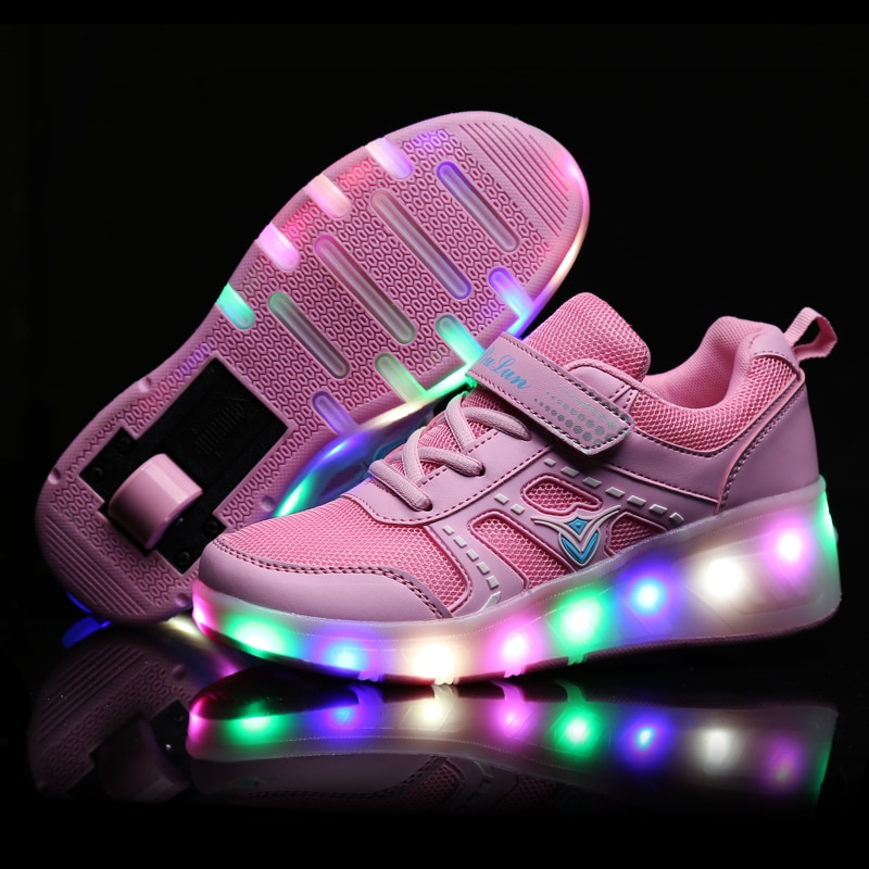 2020 Sneakers Kids Glowing Sneakers with Wheels Kids Shoes Roller Skates Shoes Wheels Children Sneakers for Boys Girls