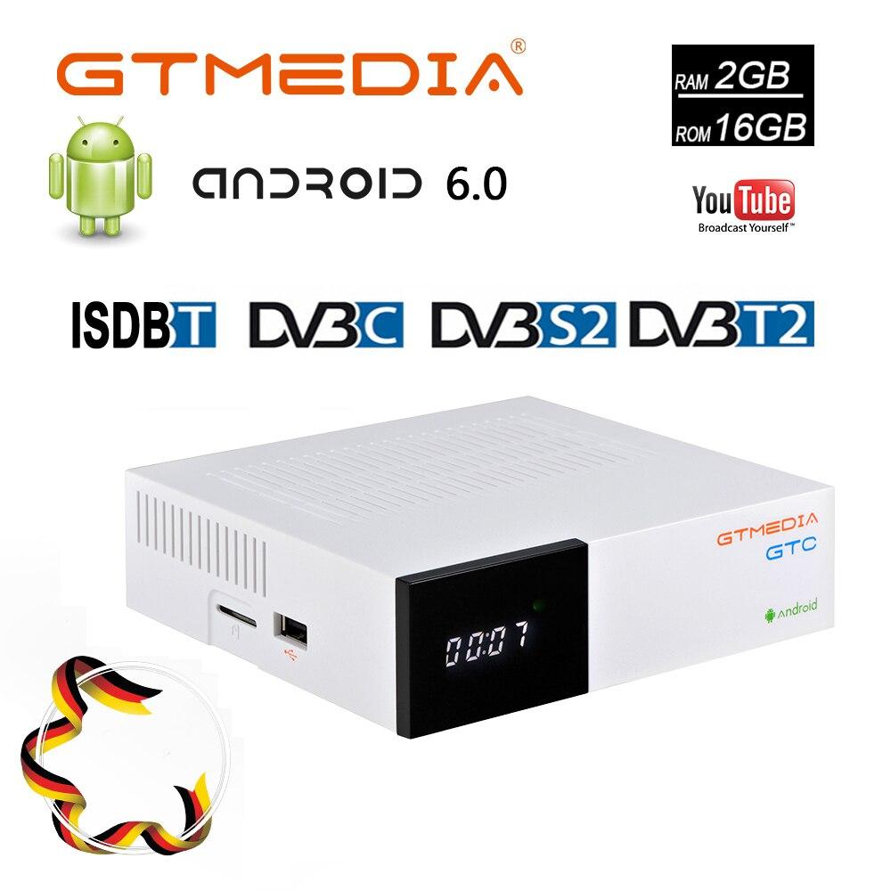 GTC GTMEDIA Cabo de CAIXA de TV Android DVB-S2 DVB-T2 ISDBT Apoio Amlogic S905D 16 2GB RAM GB para Europa m3u cline Set Top Box