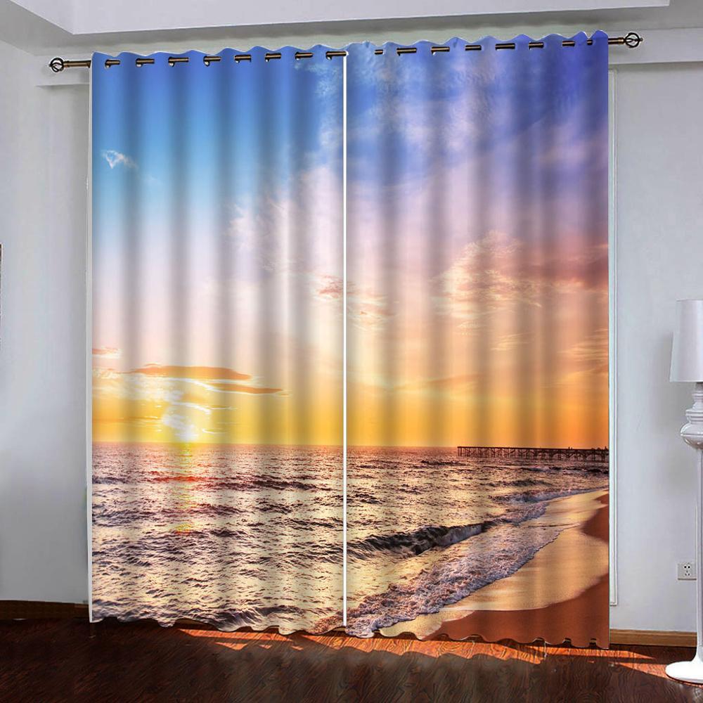 ثلاثية الأبعاد مخصصة شروق الشمس البحر المشهد الستار لغرفة المعيشة غرفة نوم ستارة ستائر التعتيم ثلاثية الأبعاد