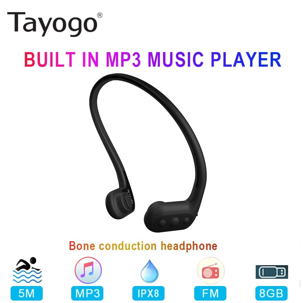 Tayogo W01 Waterproof Bone Conduction Headphone Bulit in 8GB Swim MP3 Player with FM Radio IPX8 Sport Earphone for Diving Runing