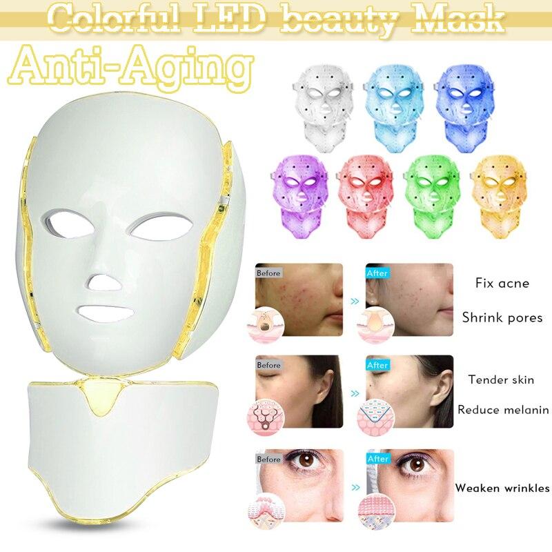 Led قناع الوجه 7 ألوان جهاز للعناية بالوجه جهاز الجمال مصباح ليد علاج للوجه قناع الوجه التجاعيد إزالة تجديد آلة
